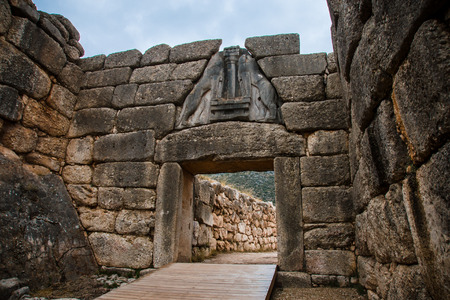 Gate in Mycene, Peloponnese, Greece photo