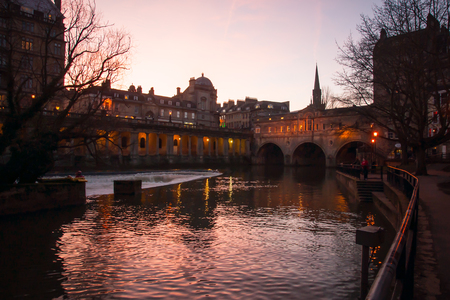 BATH, UK - FEBRUARY 17  The Pulteney Bridge - February 17 in Bath, Somerset, England  UK   This bridge was completed in 1774