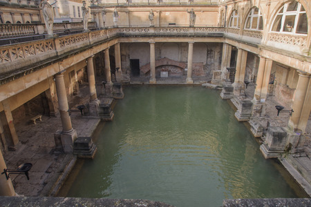 Ancient Roman Baths, Bath, Somerset, England 版權商用圖片