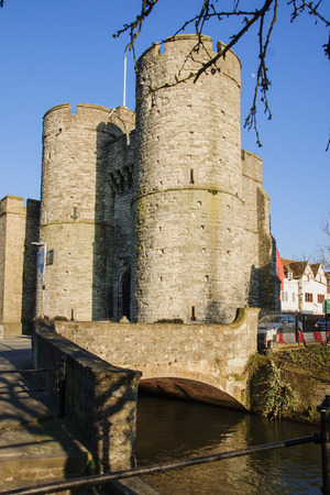 west gate: The West Gate of the city of Canterbury, Kent, England, UK