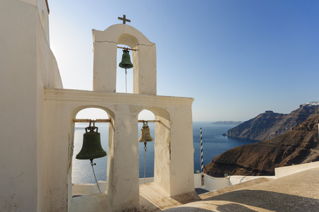 fira: Church bells in Fira, Santorini, Greece