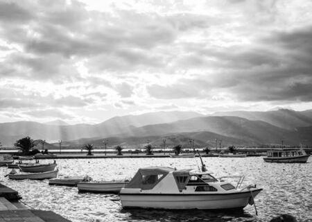 nafplio: Boats in Nafplio harbor, Peloponnese, Greece Stock Photo