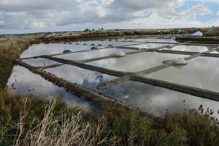 evaporacion: Estanques de evaporaci�n de sal en Guerande, Breta�a, Francia