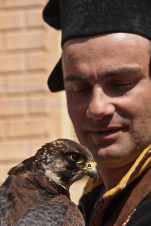 sword act: MDINA, MALTA - APRIL 14  Falconer and his falcon take part in the Medieval Mdina festival in Mdina, Malta on April 14, 2012