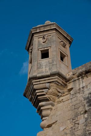 malta cities: The stone vedette, Senglea, one of the three cities, Malta