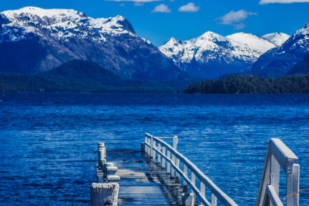 lake nahuel huapi: Pier at Nahuel Huapi national park, Patagonia, Argentina Stock Photo