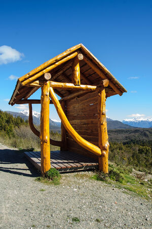 bariloche: A bus station on the road, in Patagonia, near Bariloche, Argentina