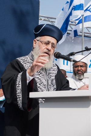 rabbi: JERUSALEM - OCT 31  Yitzhak Yosef, Chief Sepharadi Rabbi speaks at the Sigd Celebration - Oct  31, 2013 in Jerusalem, Israel  The Sigd is an annual holyday of the Ethiopian Jews  Editorial