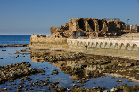 acre: Remains of an old medieval harbor, in the old city of Acre, Israel