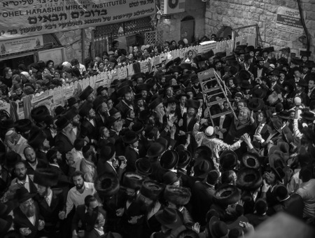 lag: MERON, ISRAEL - MAY 18, 2014  Orthodox Jews dance at the annual hillulah of Rabbi Shimon Bar Yochai, in Meron, on Lag BaOmer Holiday  This is an annual celebration at the tomb of Rabbi Shimon Editorial