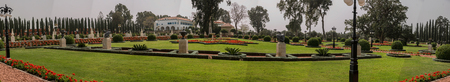 Panoramic view of the Bahai gardens, in Acre, Israel photo