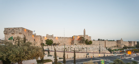 The walls of the old city of Jerusalem  South of Jaffa gate, the Tower of David  Jerusalem, Israel photo