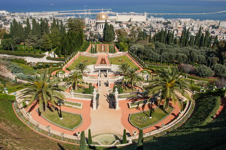 The Bahai gardens and temple, on the slopes of the Carmel Mountain, in Haifa, Israel photo