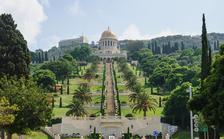 The Bahai gardens and temple, on the slopes of the Carmel Mountain  view from below , in Haifa, Israel photo