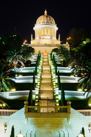 The Bahai gardens and temple, on the slopes of the Carmel Mountain  view from below , in Haifa, Israel