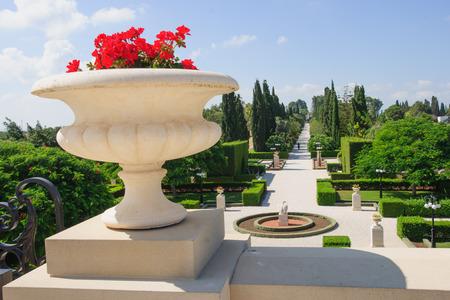 baha: The Bahai gardens, in Acre, Israel  Stock Photo