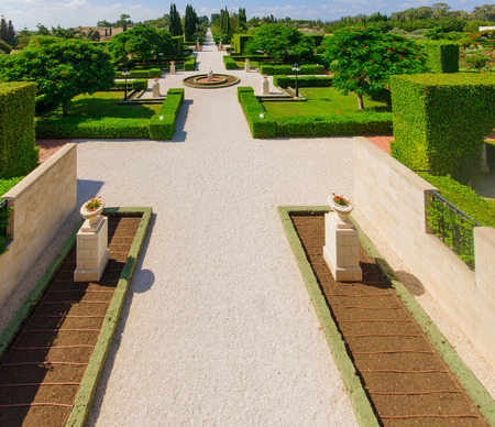 The Bahai gardens, in Acre, Israel   photo