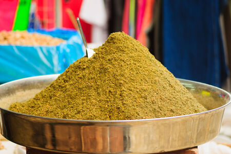 Zaatar and other herbs on sale in the market