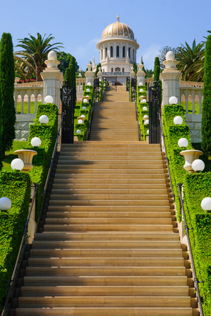 baha: The Bahai gardens and temple, on the slopes of the Carmel Mountain (view from below), in Haifa, Israel