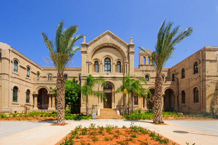 carmelite nun: A 19th century Carmelite monastery building in Haifa, Israel