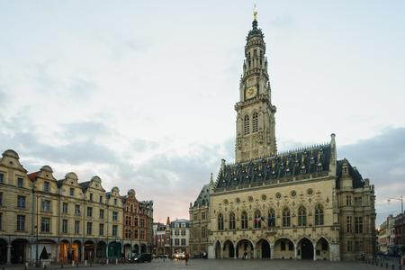 heros: Main Square (Place des Heros) and Hotel de Ville, Arras, France Stock Photo