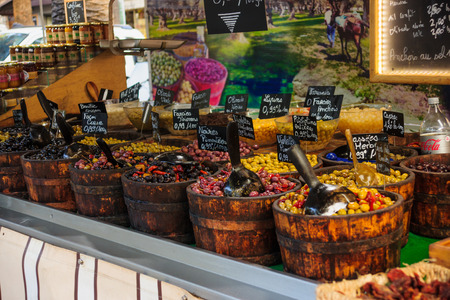 Various olives on sale in a French market, in Ajaccio, Corsica, France
