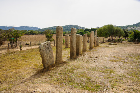 The menhirs alignment of Stantari, in the megalithic site of Cauria, Sartene area, Corsica, France Stock Photo