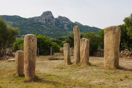'phallic symbol': The menhirs alignment of Stantari, in the megalithic site of Cauria, Sartene area, Corsica, France Stock Photo