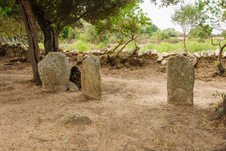 megaliths: The menhirs alignment of Renaggiu, in the megalithic site of Cauria, Sartene area, Corsica, France Stock Photo