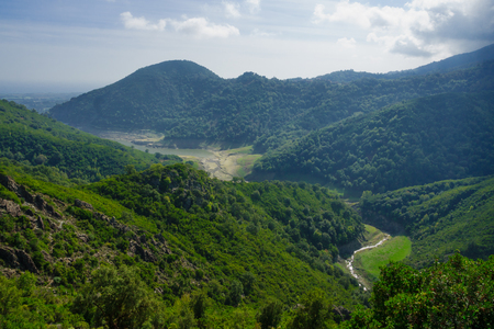 Corsican landscape, near the Alesani River and road D71, in Haute-Corse, Corsica, France Stock Photo