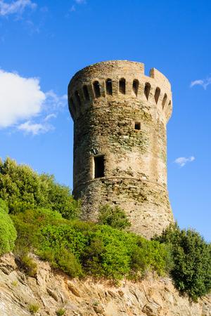 genoese: La Tour de Losse, Genoese tower, Cap Corse, Corsica, France Stock Photo