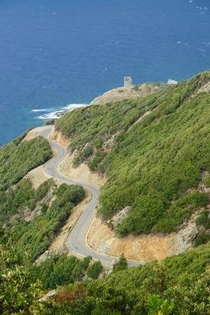 corse: Landscape in Barrettali area, near road D33, in Cap Corse, Corsica, France Stock Photo