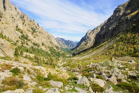 The Restonica Gorge (Gorges de la Restonica) in Corsica, France photo