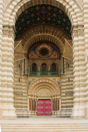 The decorated entrance of the Cathedrale de la Major (main cathedral), in Marseilles, France photo