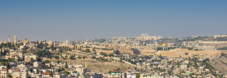 View of the south side of the old city of Jerusalem, with al-Aqsa mosque, and the Dormition Abbey. Jerusalem, Israel photo