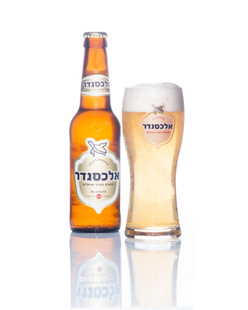 category: HAIFA, ISRAEL - SEP 16, 2014: A bottle and a glass of alexander blonde beer, winner of the European beer star competition in 2014 (English-Style Golden Ale category) in Haifa, Israel Editorial
