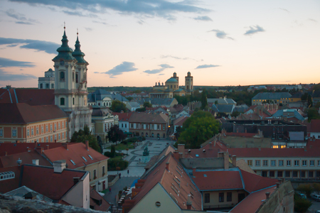 View of the historical center of Eger, Hungary. View from the castle