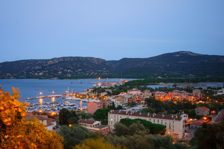 View of the marina of Porto Vecchio on sunset, Porto Vecchio, Corsica, France