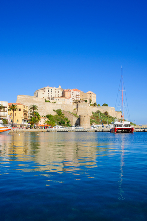 Scene of the citadel and the marina in Calvi, The Balagne, Corsica, France