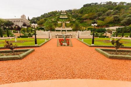 baha: The Bahai gardens and archive building, on the slopes of the Carmel Mountain, in Haifa, Israel