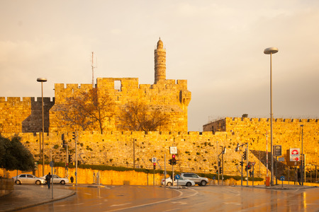 JERUSALEM, ISRAEL - JAN 16, 2015: The old city walls and the Tower of David on sunset, in Jerusalem, Israel