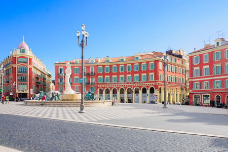 provence: NICE, FRANCE - JAN 26, 2015: Scene of local and tourist in the Place Massena square in Nice, Provence-Alpes-Cote d