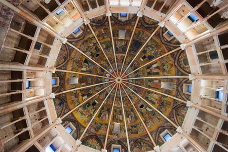 fresco: PARMA, ITALY - JAN 22, 2015: The ceiling fresco in the Baptistery of Parma, Emilia-Romagna, Italy Editorial