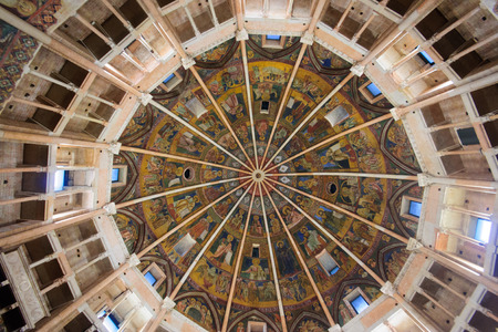 italian fresco: PARMA, ITALY - JAN 22, 2015: The ceiling fresco in the Baptistery of Parma, Emilia-Romagna, Italy Editorial