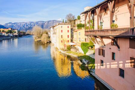Colorful houses on the Brenta river, in Bassano del Grappa, Veneto, Italy