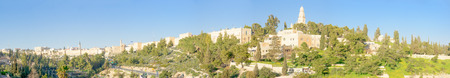 Panoramic view of the old city of Jerusalem, with the wall, tower of David and Mount Zion. Jerusalem, Israel photo