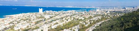 haifa: HAIFA, ISRAEL - MAR 16, 2015: Panoramic view of Haifa bay and the port, in Haifa, Israel