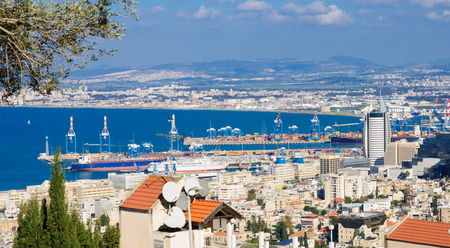 View of Haifa bay and the port, in Haifa, Israel