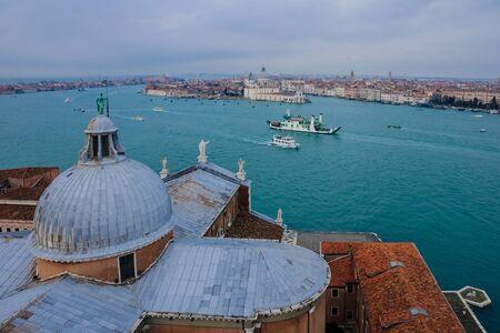 lido: The Church of San Giorgio Maggiore, and a view of Venice and the Lido. Venice, Veneto, Italy