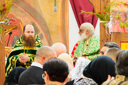 christianity palm sunday: NAZARETH, ISRAEL - APR 05, 2015: Orthodox Palm Sunday blessing ceremony, in the Greek Orthodox church of Annunciation, in Nazareth, Israel Editorial